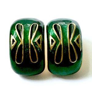 Green Enameled Hoop Earrings Vintage